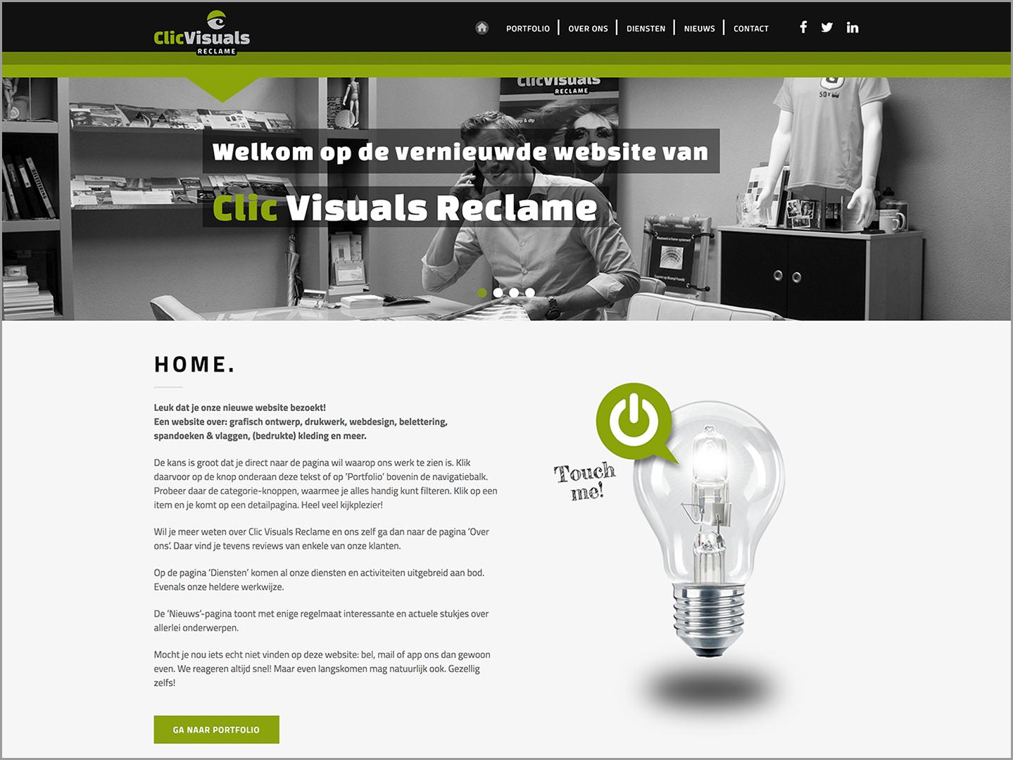 Nieuwe website Clic Viuals Reclame