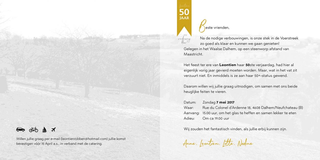 Uitnodiging 50 jarige verjaardag