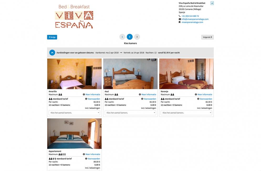 Viva España Bed & Breakfast - Webdesign